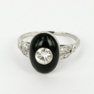 Platinum and onyx Art Deco diamond ring