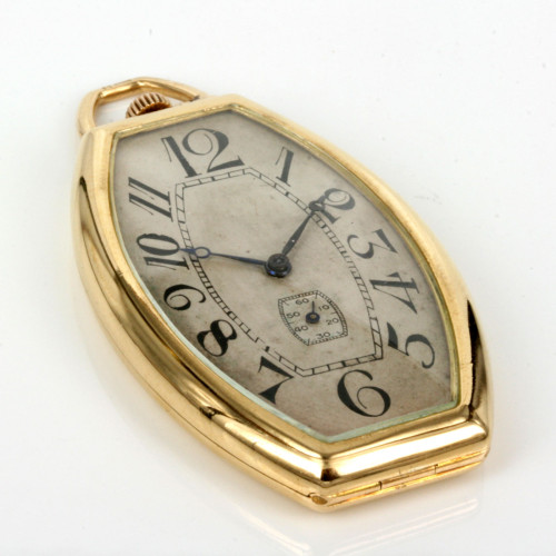 Elegant 18ct gold Art Deco pocket watch by Favre