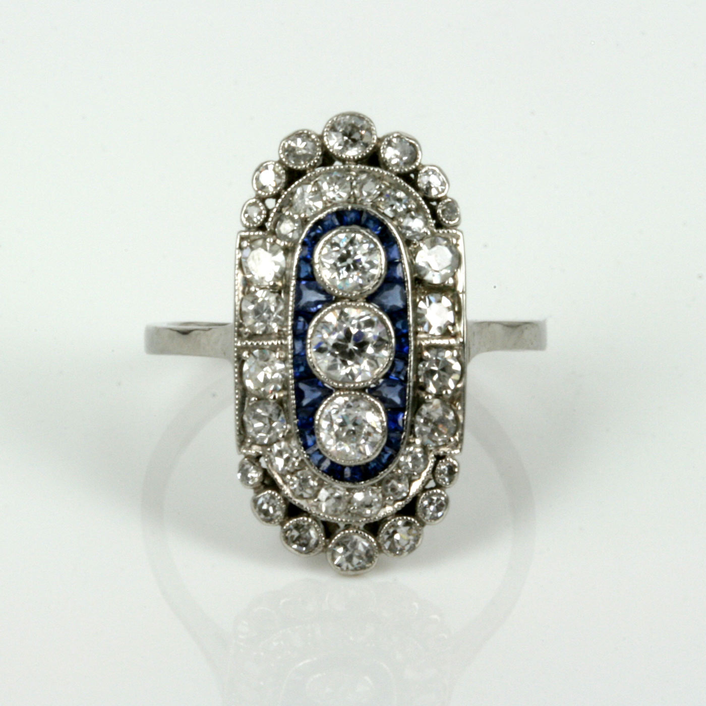 Sapphire And Diamond Ring Art Deco