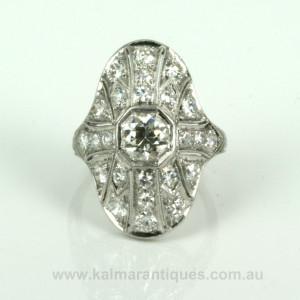 Hand made platinum Art Deco diamond ring
