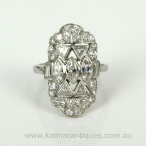 Geometric Art Deco diamond ring from the 1920's