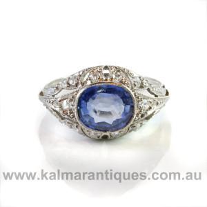 Platinum Art deco sapphire and diamond engagement ring