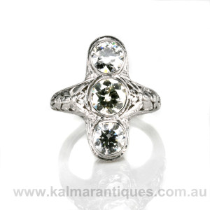 18ct white gold Art Deco diamond ring with butterfly designs