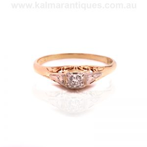 18ct Art Deco diamond engagement ring set with a European cut diamond