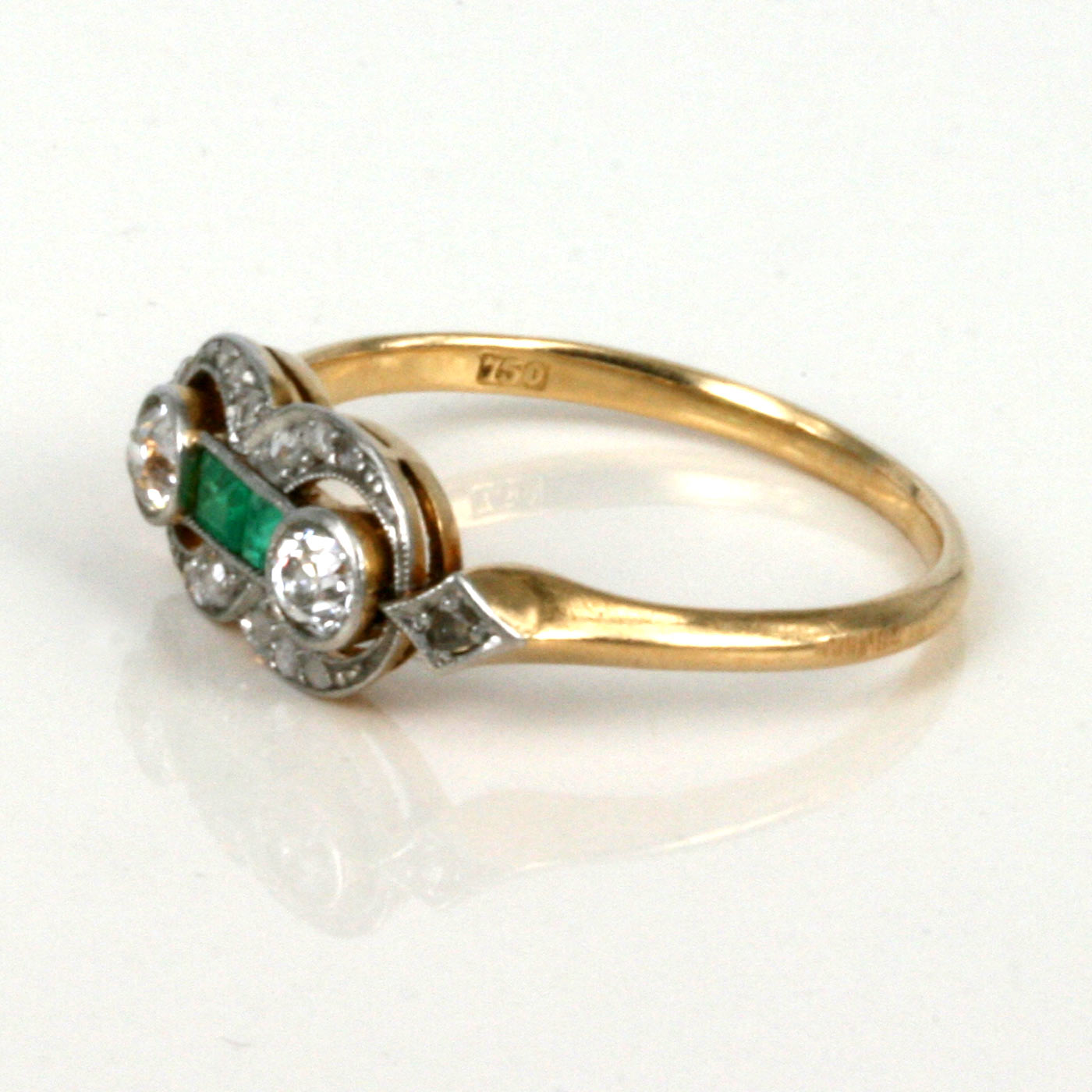 buy 18ct deco emerald and ring sold items