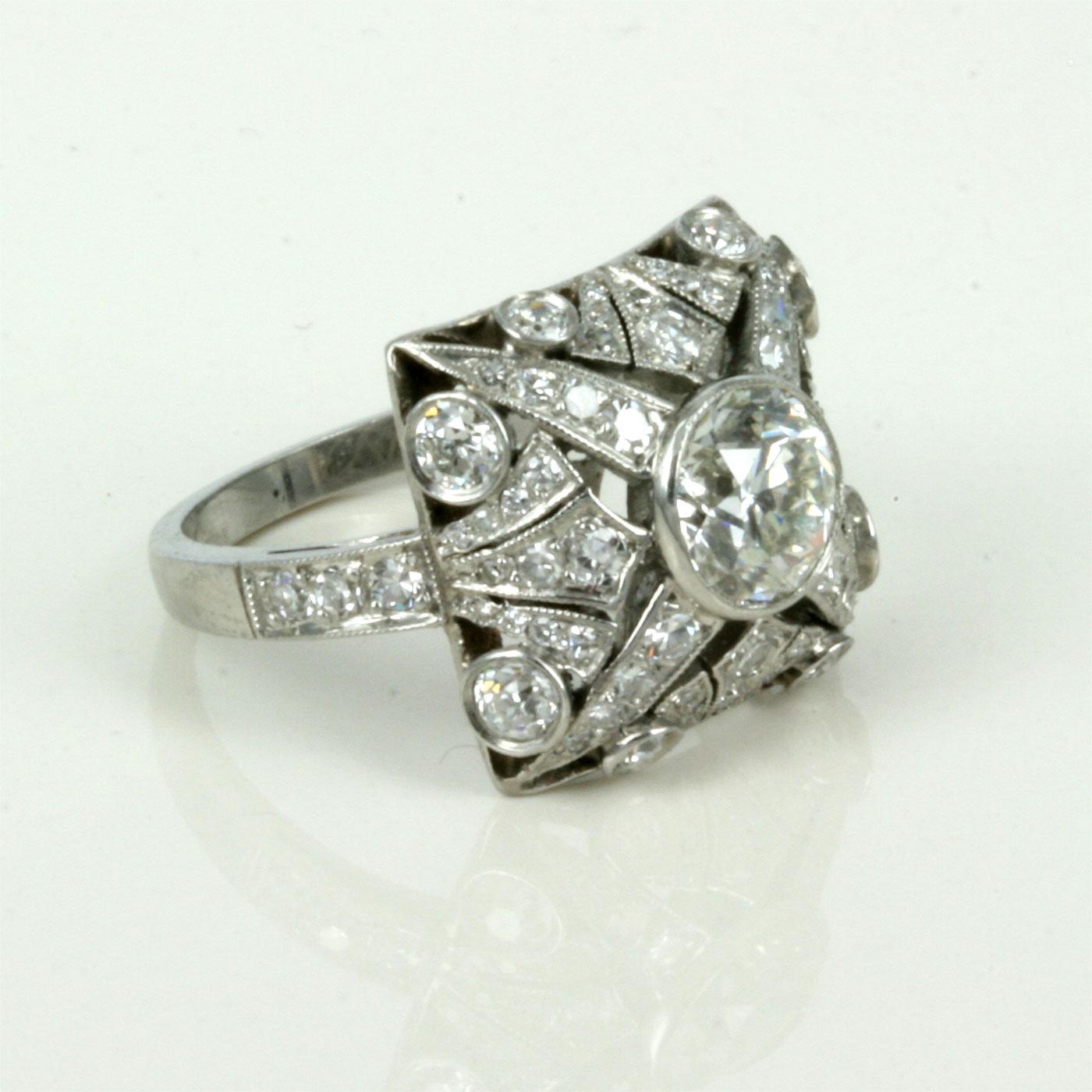 Buy stunning art deco diamond ring wtih 69 diamonds sold for Art craft engagement rings
