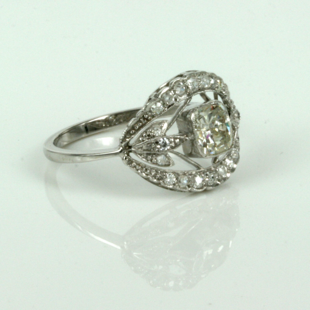 Buy art deco diamond engagement ring made in platinum for What is platinum jewelry made of