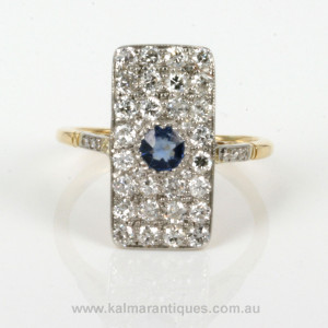 Art Deco sapphire and diamond rectangle ring