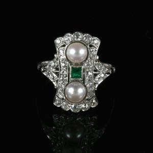 Art Deco emerald, diamond and pearl ring