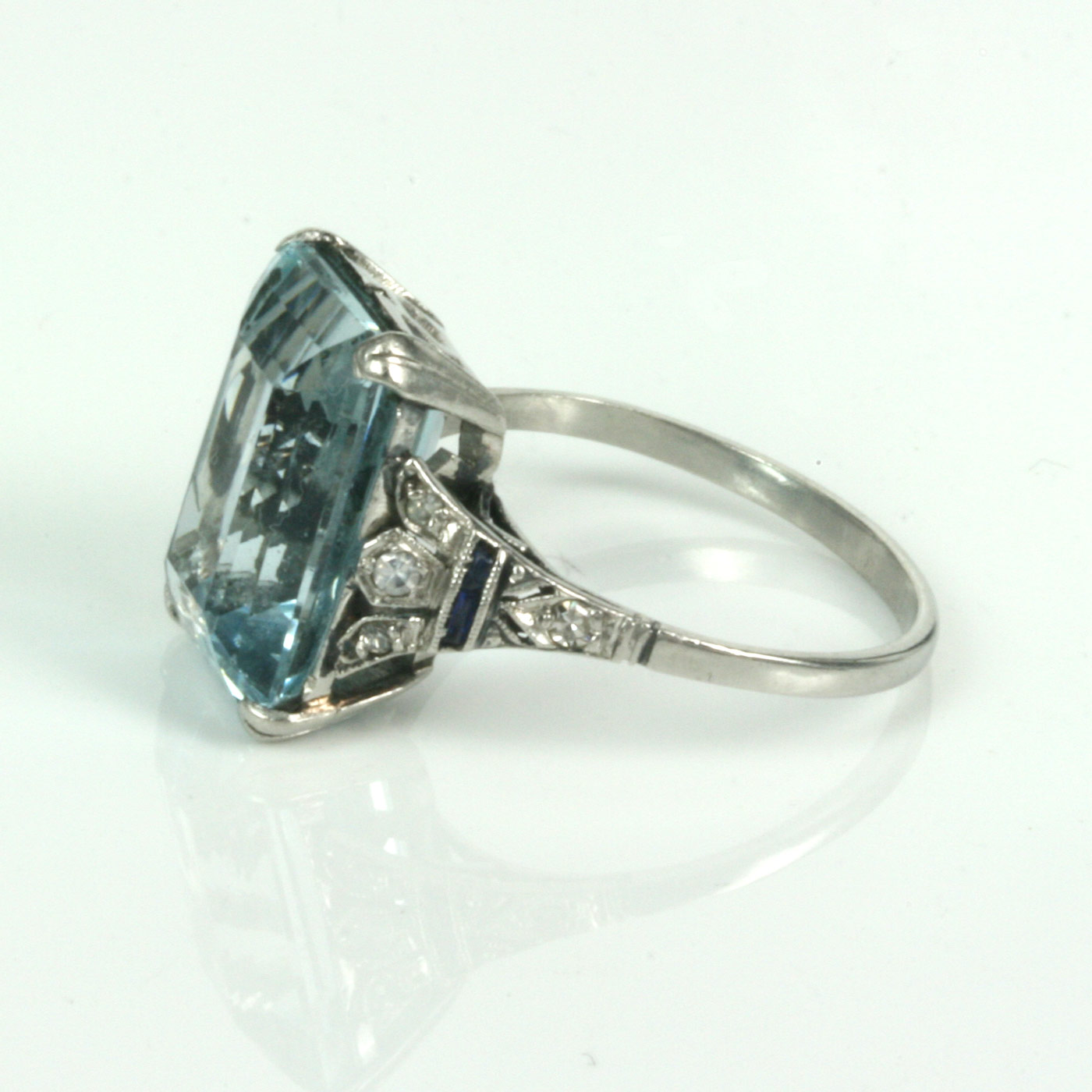 Buy Art Deco Aquamarine Ring In Platinum Sold Items Sold