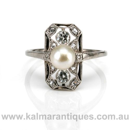 Platinum Art Deco pearl and diamond ring