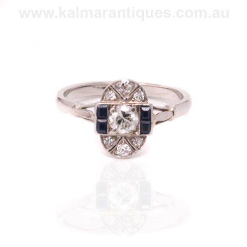 Art Deco sapphire and diamond wedding ring