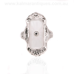 White gold Art Deco rock crystal and diamond ring