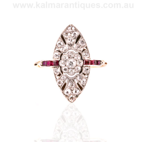 Art Deco ruby and diamond ring from the 1920's