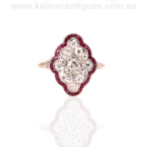 Art Deco ruby and diamond engagement ring
