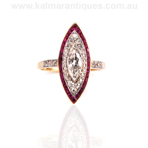 Art Deco ruby and diamond lozenge ring