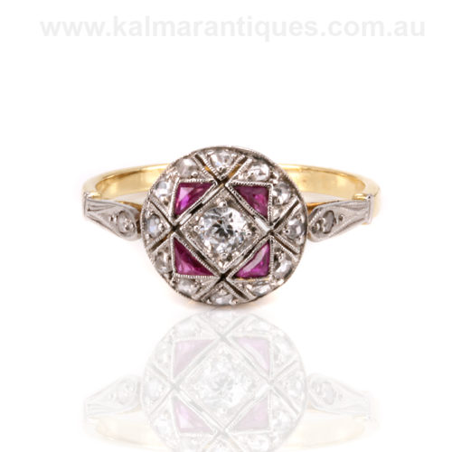 Art Deco vintage ruby and diamond engagement ring Sydney