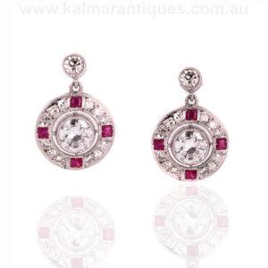 Art Deco ruby and diamond earrings