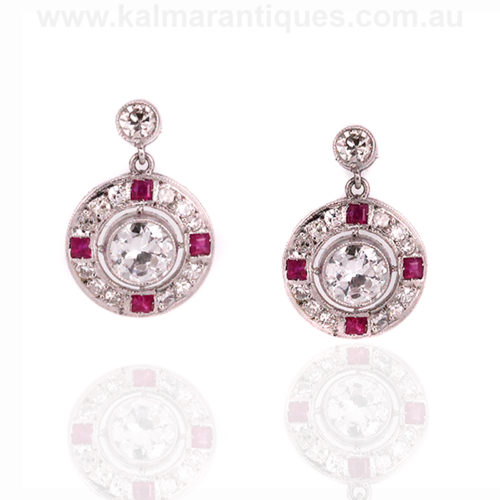 Art Deco ruby and diamond earrings