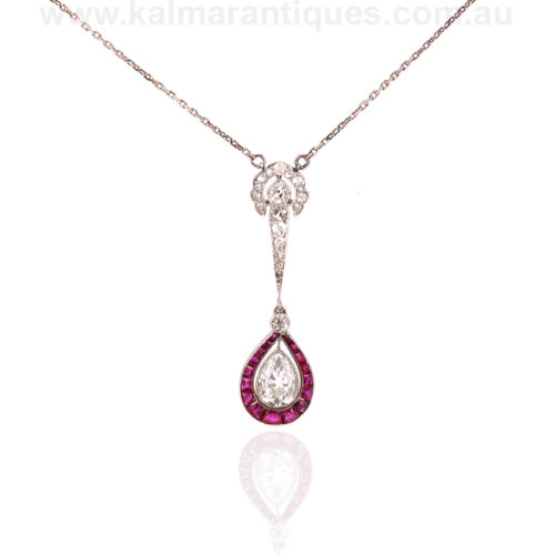 Platinum Art Deco ruby and diamond pendant from the 1920s
