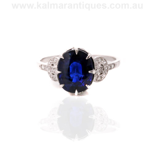 Platinum Art Deco sapphire and diamond engagement ring