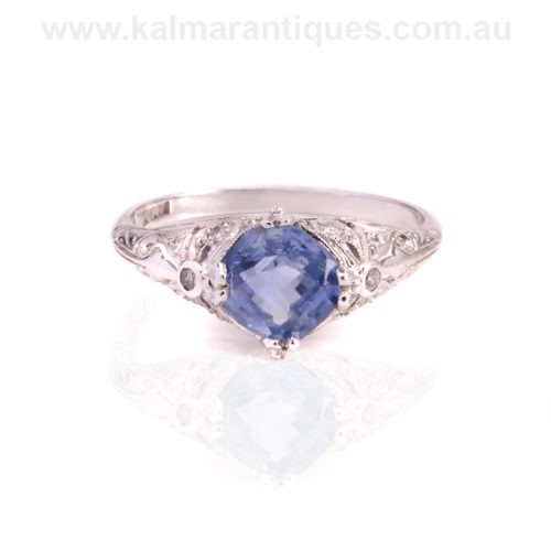 1920's Art Deco untreated sapphire and diamond ring