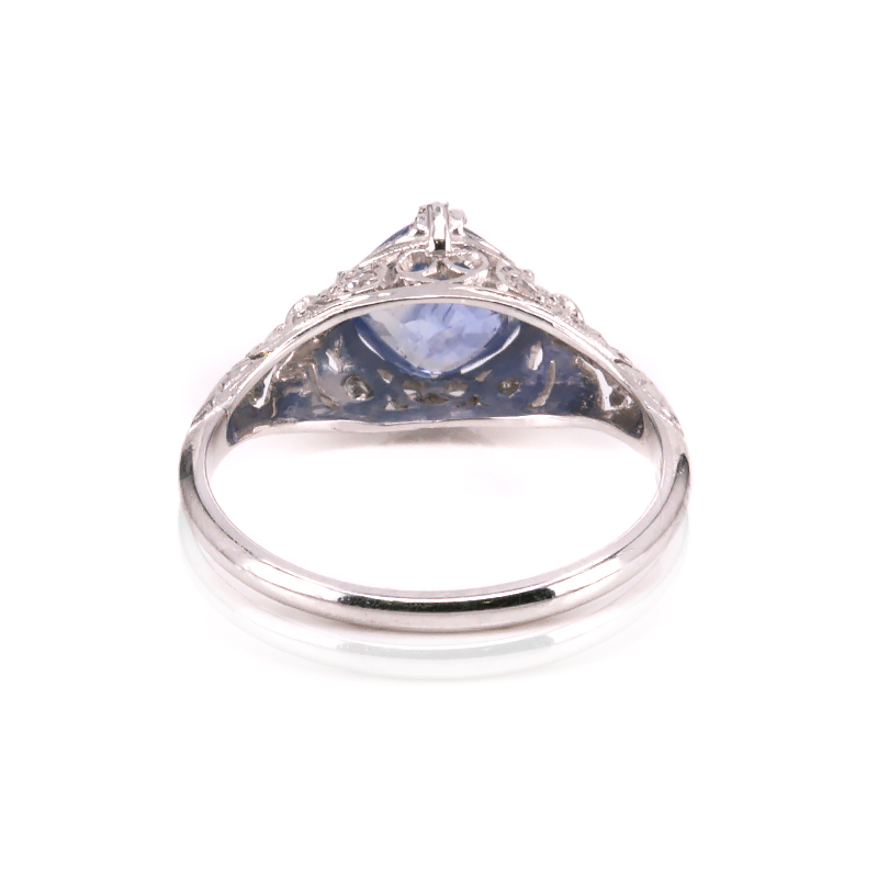art deco untreated sapphire and diamond engagement ring