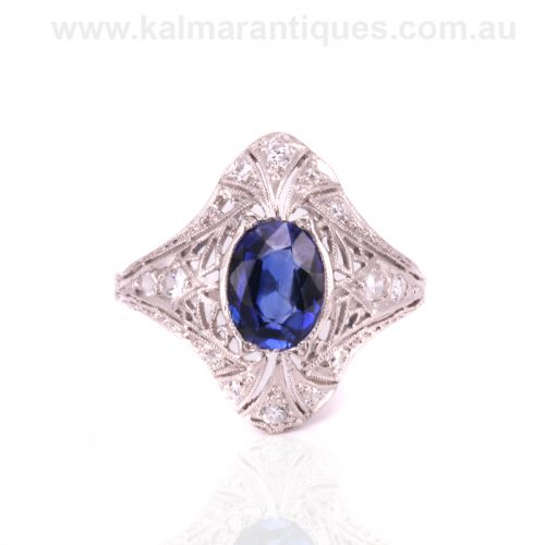 Art Deco sapphire and diamond ring from the 1920's