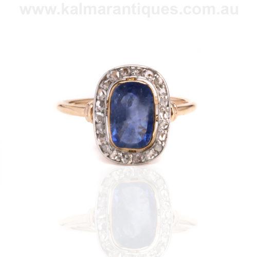 Art Deco sapphire and diamond ring. Unheated sapphire