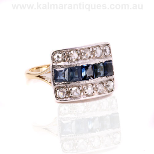 Gold and platinum Art Deco sapphire and rose cut diamond ring