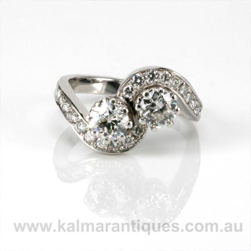 Art Deco diamond engagement ring in platinum