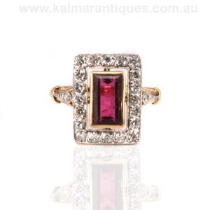 Art Deco Tourmaline and diamond ring