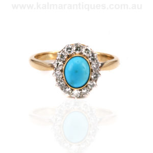 Art Deco turquoise and diamond cluster ring