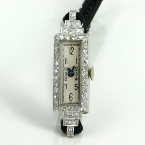Art Deco diamond set watch made in platinum.
