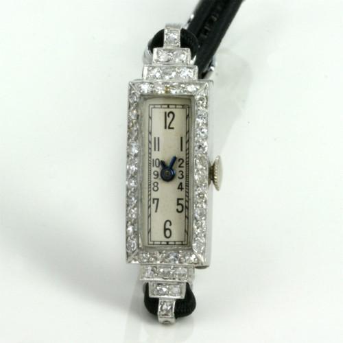 Art Deco diamond set watch made in platinum.