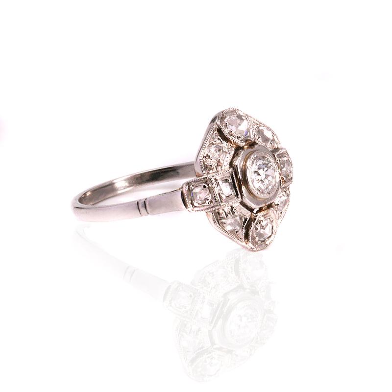 platinum deco engagement ring