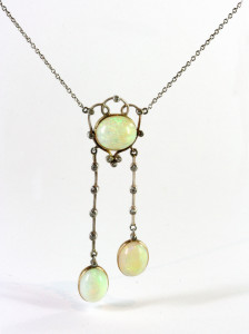 Art Deco opal and diamond negligee pendant