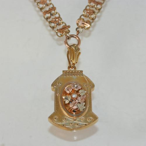 Art Nouveau pendant and chain.