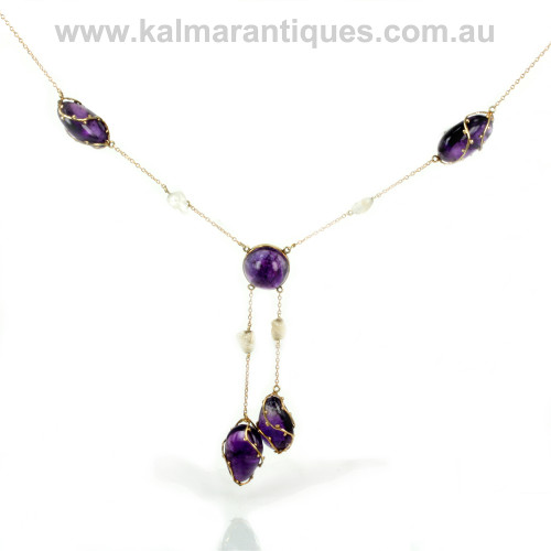 Arts and crafts era amethyst and natural pearl negligee necklace.