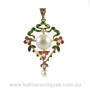 Art Nouveau enamel and diamond pendant