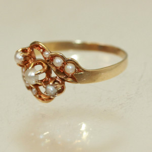 Pearl set Art Nouveau ring.
