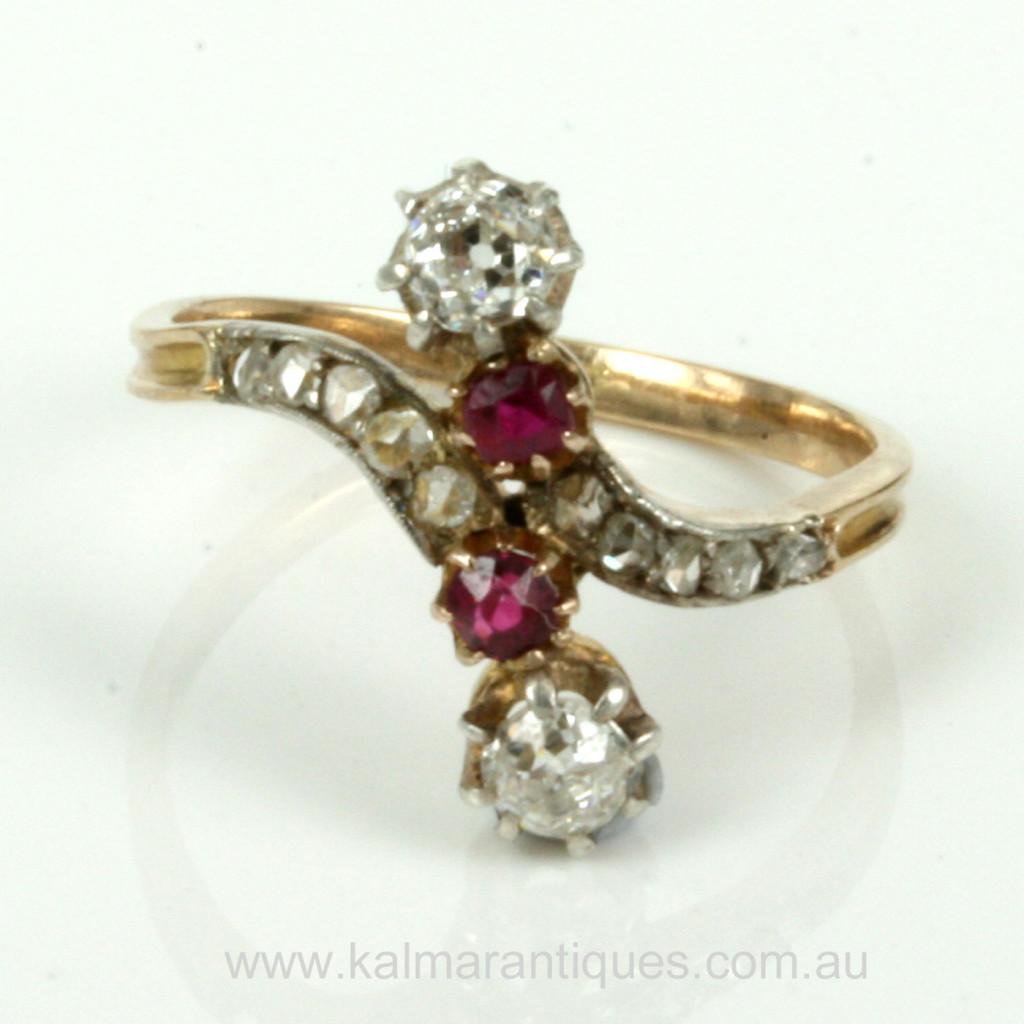 Buy Antique Ruby Amp Diamond Art Nouveau Era Ring Antique