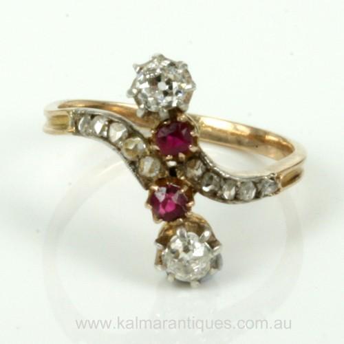 Antique ruby & diamond Art Nouveau era ring