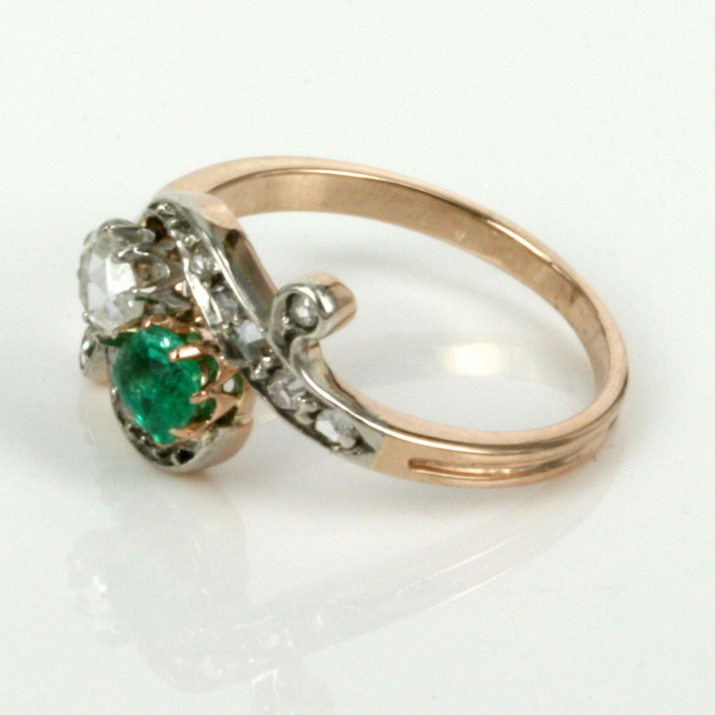 Art Nouveau Emerald And Diamond Ring