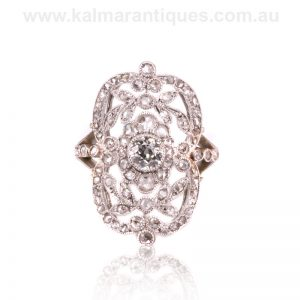 Exquisite handmade platinum Belle Époque diamond ring
