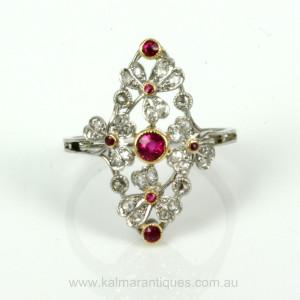 Ruby & diamond Belle Époque ring