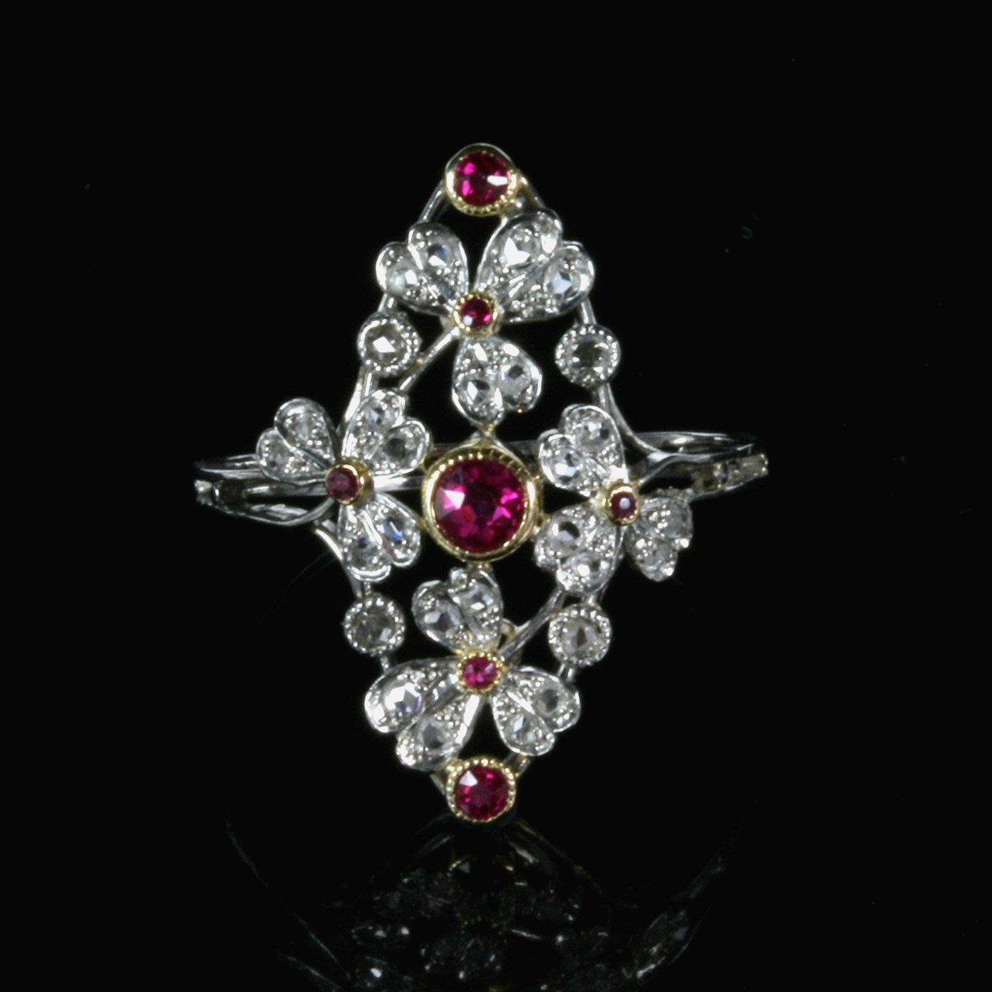 Buy Ruby Amp Diamond Belle 201 Poque Ring Antique Antique