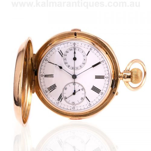 Antique 18ct gold full hunter chronograph W. Bennett & Co pocket watch
