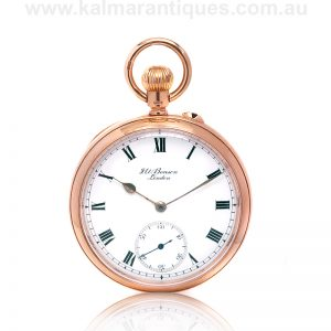 9ct gold antique pocket watch by JW Benson made in 1912