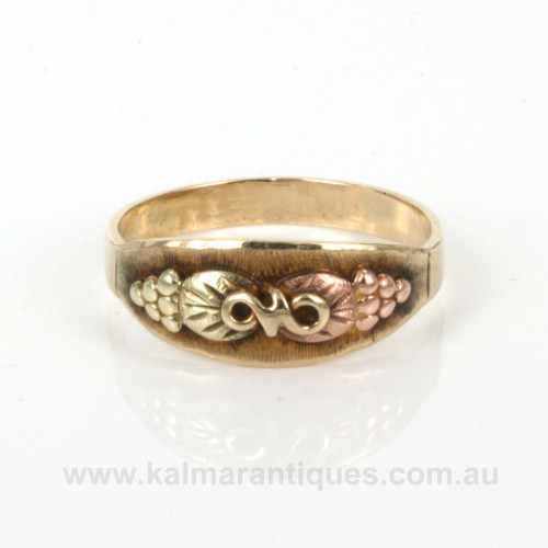 Rose and green gold ring by Black Hills